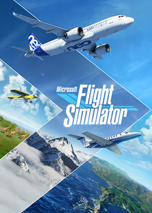A series of general aviation and commercial aircraft flying in unison above three different areas with different climates, bordered by triangles. In the center, slightly diagonal, is the Microsoft Flight Simulator title.