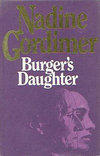 Front cover of the first UK edition of Burger's Daughter showing the author's name and book title, and an illustration of the head of a man partially obscuring the head of a woman