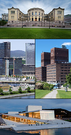 Top: Parliament of Norway Building, middle left: Bjørvika, middle right: Oslo City Hall seen from Akershus Castle, bottom: Oslo Opera House