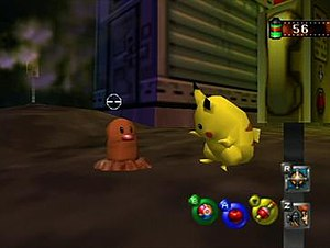 """Pokémon Snap -  Taking a picture of a Pikachu and Diglett in the """"Tunnel"""" level"""