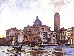 Palazzo Labia. The Grand Canal facade to the right of the campanile, on the junction of the Cannaregio and Grand Canal Painted by Sargent