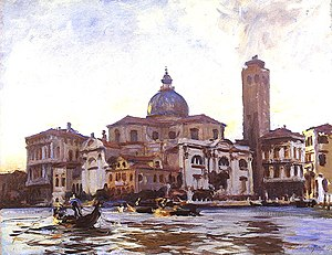 Palazzo Labia - Palazzo Labia. The Grand Canal facade to the right of the campanile, on the junction of the Cannaregio and Grand Canal Painted by Sargent