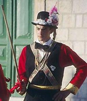 Lastovo Poklad - A Pokladar shown in his traditional uniform