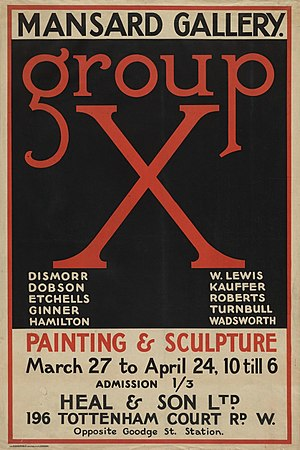 Group X - Image: Poster for the Group X exhibition 26 March – 24 April 1920
