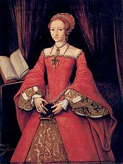 Princess Elizabeth, age 13 in 1546, thought to have been painted by Levina Teerlinc