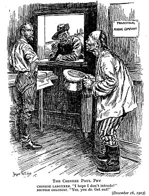 Chinese South Africans -  Punch cartoon, 1903; The Rand mine-owners' employment of Chinese labour on the Transvaal gold mines was controversial and contributed to the Liberal victory in the 1906 elections.