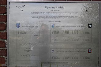 E Company, 506th Infantry Regiment (United States) - The Memorial plaque near RAF Upottery, Devon, UK showing the names of those who died in transit from the base to France on 5th and 7th June 1944.