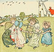 Kate Greenaway's Mother Goose illustration of children playing the game (from Project Gutenberg).
