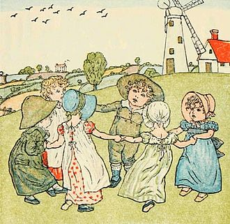 Ring a Ring o' Roses - Kate Greenaway's illustration from Mother Goose or the Old Nursery Rhymes (1881), showing children playing the game