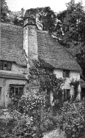 "William Robinson (gardener) - ""A Devonshire Cottage Garden, Cockington, Torquay"" from The English Flower Garden, engraving from a photograph."