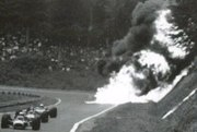 The magnesium-bodied Honda RA302 of Jo Schlesser crashes and burns during the 1968 French Grand Prix.  Schlesser was killed