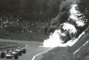 Jo Schlesser - Schlesser's magnesium-bodied Honda RA302 crashes and burns during the 1968 French Grand Prix. Schlesser was killed.