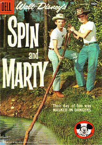 "Spin and Marty - ""Their day of fun was masked in dangers"", the September 1958 cover of Dell Comics' Spin and Marty series, picturing David Stollery and Tim Considine"