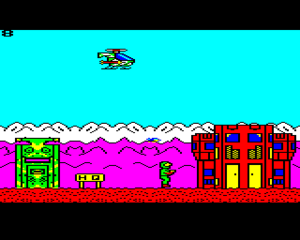 Stryker's Run - Acorn Electron screenshot. The start of the game at the enemy HQ.