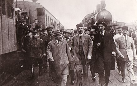 Teymourtash arriving in Moscow in 1926 for diplomatic negotiations Teymourtash on arrival in Moscow in 1926 for diplomatic discussions.jpg