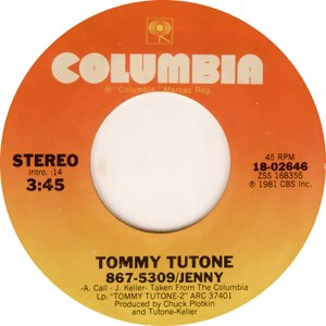 867-5309/Jenny - Image: Tommy Tutone 867 5309 Jenny (single cover)