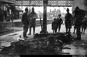 Brockenhurst - Wounded New Zealand soldiers on station platform at Brockenhurst between 1917–19