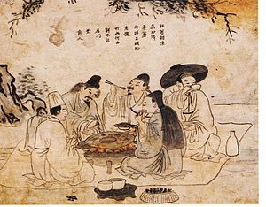 Korean barbecue - Koreans enjoying grilled meat and alcohol in the 18th century
