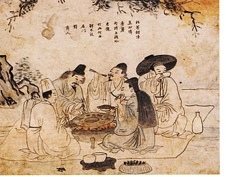 Korean cuisine - Koreans enjoying grilled meat and alcohol in the 18th century