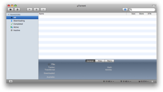 ΜTorrent - Screenshot of the Mac OS X version of μTorrent (up to 0.9.2)