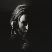 A dark black-and-white image of Adele holding a telephone to her ear