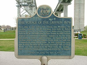 Sarnia - Historical plaque summarizing the voyage of Le Griffon, situated under the Blue Water Bridge in Sarnia