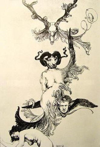"Austin Osman Spare - ""Ascension of the Ego from Ecstasy to Ecstasy"", an image taken from The Book of Pleasure (1913). now owned by The Viktor Wynd Museum of Curiosities, Fine Art & Natural History"