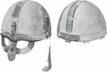 Black and white drawing of the Broe helmet