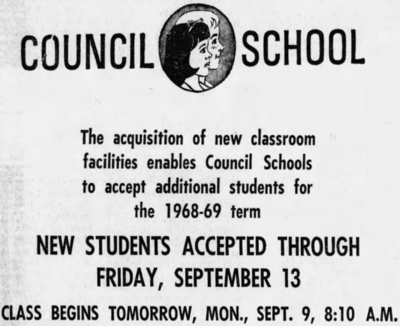 Council School Advert (Clarion Ledger Sept 6 1968 page 4).png