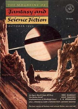 Magazine cover depicting a view of a ringed planet from the surface of another planet or moon
