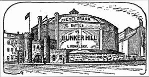 Cyclorama Building - The competing Battle of Bunker Hill Cyclorama, 1889