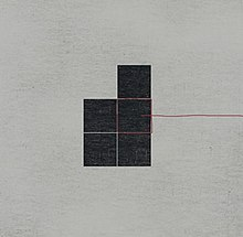 A geometric pattern of five black squares in front of a gray background. A red line comes from the right and goes around one of the squares.