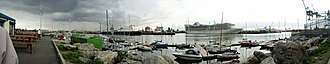 Dublin Port - Panorama image showing Dublin Port in the evening