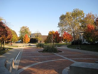 Eastern Illinois University - The EIU Alumni Courtyard, library quad and the Doudna Fine Arts Center