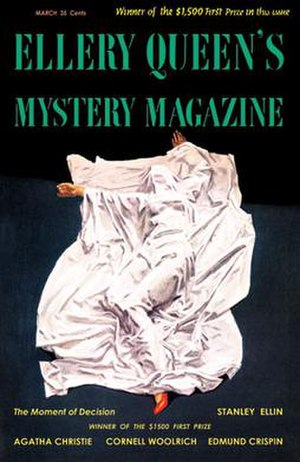 Ellery Queen's Mystery Magazine - Nicholas Solovioff painted this cover for a 1955 issue of Ellery Queen's Mystery Magazine. The popularity of the Ellery Queen radio and TV series increased interest in the magazine.