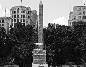 Cleopatra's Needle - Image: Embankment Westminster London Egyptian obelisk 2009 mid June under repair