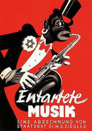 Swingjugend - Nazi propaganda against jazz music. The text reads: Degenerate Music, A Reckoning by Undersecretary Dr. H. S. Ziegler