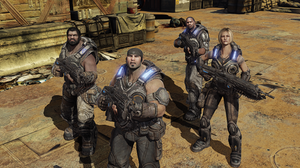 Gears of War 3 - Marcus Fenix and Delta Squad as seen during a four-player campaign co-op mission on board the CNV Sovereign.