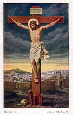 A German holy card from around 1910 depicting the Crucifixion