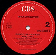 Image result for Springsteen Incident On 57th Street pictures
