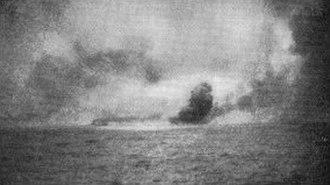 HMS Indefatigable (1909) - HMS Indefatigable blowing up after being struck by shells from Von der Tann