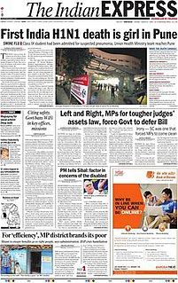 <i>The Indian Express</i> daily broadsheet newspaper in India