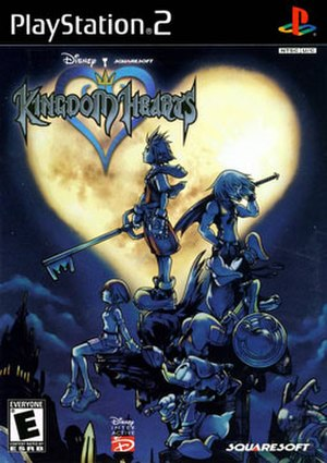 Kingdom Hearts (video game) - North American cover art featuring the main characters, from top: Sora, Riku, Goofy, Kairi and Donald