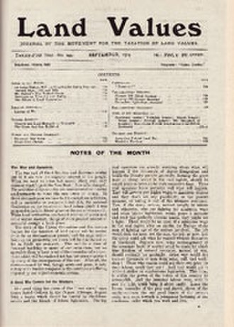 Land&Liberty - Before the magazine's change of name, Land Values, vol. XXI, no. 244, September 1914 reported the outbreak of World War I.