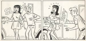"""Dan DeCarlo - Original art panels from """"The Reformer"""" in Archie's Girls Betty and Veronica No. 157 (Jan. 1969), featuring (l. to r.) Veronica Lodge and Archie Andrews. Penciled by DeCarlo, inked by Rudy Lapick."""