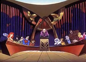 Legion of Doom - From left to right: Black Manta, Giganta, Toyman, the Riddler, Bizarro, the Scarecrow, Lex Luthor, Captain Cold, Cheetah, Solomon Grundy, Gorilla Grodd, Brainiac, and Sinestro.