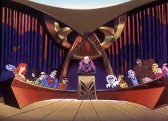 Legion of Doom - From left to right: Black Manta, Giganta, Toyman, the Riddler, Bizarro, the Scarecrow, Lex Luthor, Captain Cold, Cheetah, Solomon Grundy, Gorilla Grodd, Brainiac, and Sinestro.