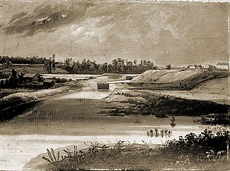 Little Chute, Wisconsin - Painting of the Little Chute Lock and Dam in 1856 commissioned by Morgan L. Martin. Drawn by Samuel M. Brookes and Thomas H. Stevenson, it was part of a group of paintings of river town sites and locks for the Fox-Wisconsin River Improvement Co. The view is approximately from the present day Doyle Park. The first St. John Nepomucene Church and School is on the extreme right.