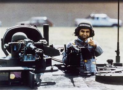 This publicity image of Michael Dukakis was taken to combat criticisms that he would be soft on issues of defense, but it backfired and seriously damaged his presidential campaign when many found it silly and unsubtle.