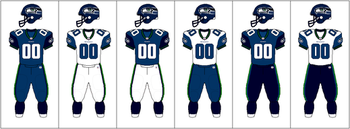 6fbe1e8c Seattle Seahawks uniform combinations, 2002–2011. A green alternate jersey  was used, but only for one game of the 2009 season.